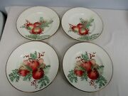 4 Lenox Williamsburg Boxwood And Pine Pomegranate And Apple Luncheon Plates 9 3/8