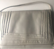 Vintage Made In Italy Abraham And Straus Light Gray Leather Medium Clutch Handbag