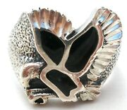 Sterling Silver Black Onyx Ring With Eagle In Flight Size 10 Vintage Jewelry W