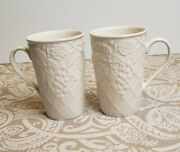 Mikasa English Countryside Cappuccino Mugs Embossed Grapes Coffee Cup Lot X2