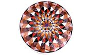 Round Mosaic Study Room Marble Corner Top Table Inlaid Indian Decorative H5642