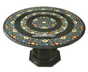 Black Marble With Stand Multi Floral Center Top Table Inlay Resaturant Art H3501