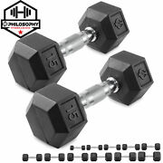 Pair Of Rubber Coated Hex Dumbbell Hand Weight Set 5 Lb To 50 Pound