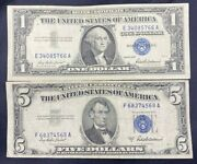 Us Paper Currency Collection 5 Dollar Blue 1 Dollar Blue Silver Certificate
