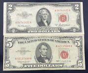 Us Paper Currency Red Seal Collection 5 Dollar Red Seal And 2 Dollar Red Seal