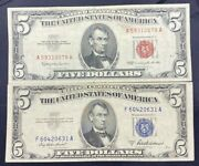 Us Paper Currency 5 Dollar Collection 5 Dollar Red Seal And 5 Dollar Blue Seal