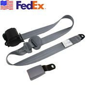 Gray 3 Point Retractable Safety Seat Belt Lap Seatbelt With Curved Rigid Buckle