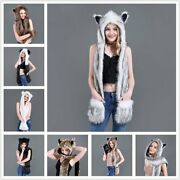 Mittens Scarf Paws Women Fashion Hat Gloves Animal Ears 3in1 Hood Gift Faux Fur