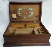 Antique Wooden Box 12.5 X 5 Dovetailed Lidded Sewing Compartments Tray