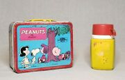 Vintage 1973 Peanuts Multicolor Metal Tin Collectible Lunchbox With Thermos