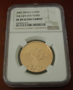Israel 2005 Gold 1/2 Oz 10 New Sheqalim Ngc Pf70uc The Golden Years Mintage- 485