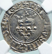 1380ad France King Charles Vi Antique Silver Old Gros Medieval Coin Ngc I87753
