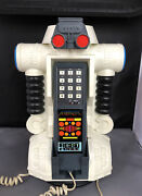 1984 Robo Force Maxx Steele Vintage Push Button Telephone Phone Works Robot Toy