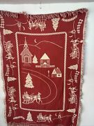 Goodwin Weavers Christmas Churches Fringed Blanket 48x65 Red White. See Flaw
