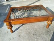 Ethan Allen Tuscany Coffee Table Beveled Glass Hand Forged Iron