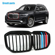 New Tricolor Front Bumper Grille Grill Single Slat For Bmw X7 G07 2019-2021