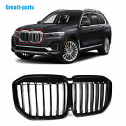 New Black Front Bumper Grille Grill Single Slat For Bmw X7 G07 2019-2021