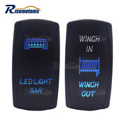 Laser Blue Rocker Switch Led Light Bar + Winch In/out For Honda Pioneer 700 1000