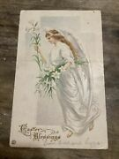 Vintage Easter Postcard Angel With White Lilies And Gown Lily Flower 1919