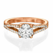 H/si2 Round Cut Diamond Engagement Ring 1.00 Ct 14k Rose Gold Affordable