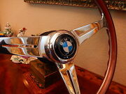 Bmw E9 3.0 Cs - 3.0 Csi Wood Steering Wheel 15.3 Large Bmw Horn Button New