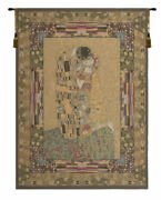 The Kiss By Gustav Klimt Belgian Decorative Design Woven Tapestry Wall Hanging