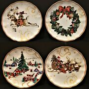New Williams Sonoma Twas The Night Before Christmas Salad Plates Set Of 4 Mixed
