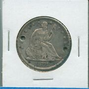 1871 P Seated Liberty Half Dollar Us Mint Silver Coin 1871-p Holed Engraved