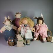 Lot Of 4 Vintage Lizzie High Wood Dolls Easter Bunny Amelia High Pappy Pawtucket