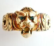 18k Yellow Gold Lion Head Ring With Green Emerald Eyes Size 6.5 Vintage 13.2 Gr