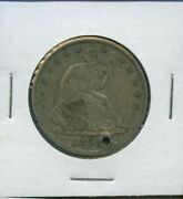 1856 S Seated Liberty Half Dollar Us Silver Coin Rare 1856-s Holed