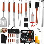Grilljoy 30pc Bbq Grill Tool Set With Thermometer And Meat Injector