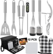 Grilljoy 12pc Bbq Grill Tool Set With Black Insulated Cooler Bag