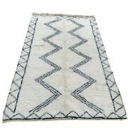 Large Moroccan Beni Ourain Area Rug - 5ft X 8ft Black And White - Handmade Morocco