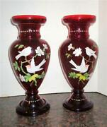 Victorian Bohemian Ruby Glass Vases Hand Painted Birds Enamel Gold