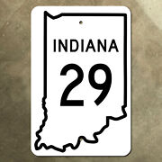 Indiana State Route 29 Highway Marker Road Sign 1955 12x18 Map Outline