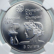 1974 Canada Elizabeth Ii Olympics Montreal Torch Old Silver 5 Coin Ngc I87840