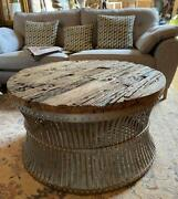 Round Coffee Table Industrial Vintage Rustic Reclaimed Wood Silver Iron Base