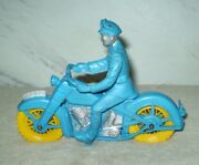 Vintage Auburn Rubber Police Motorcycle W/rider Very High Grade From Attic Find