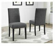 Copper Grove Nail Upholstered Grey Wood Kitchen Dining Chairs Set Of 2 Arm Less