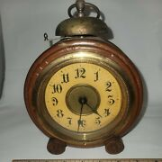 Antique German Mantel Clock With Alarm Function Wood Case Untested