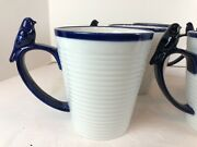Fitz And Floyd Everyday White Cobalt Blue Bird Handle Coffee Mugs Cups Set Of 6
