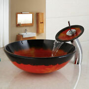 Round Tempered Glass Red Wash Basin Vessel Sink Bowl Waterfall Mixer Faucet Set