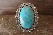 Navajo Indian Jewelry Sterling Silver Turquoise Ring Size 6 1/2 - Delgarito