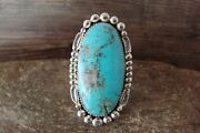 Navajo Indian Jewelry Sterling Silver Turquoise Ring Size 11 - Delgarito