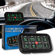 8 Gang Switch Panel Electronic Relay On-off Control Led Light Bar Car Boat Green