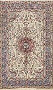 Floral Semi Antique Kirman Ivory Area Rug Vegetable Dye Oriental Handmade 6and039x8and039