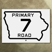 Iowa State Route 7 Highway Marker Primary Road Sign 1924 Map Outline