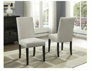 Copper Grove Nail Upholstered Biege Wood Kitchen Dining Chairs Set Of 2 Arm Less