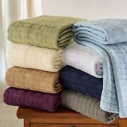 Basketweave Thin Cotton Cozy Bed Blanket By Blue Nile Mills